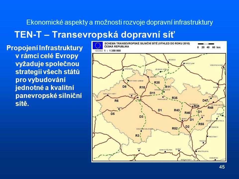 45 Ekonomické aspekty a možnosti rozvoje dopravní infrastruktury TEN-T – Transevropská dopravní síť Propojení Infrastruktury v rámci celé Evropy vyžaduje společnou strategii všech států pro vybudování jednotné a kvalitní panevropské silniční sítě.