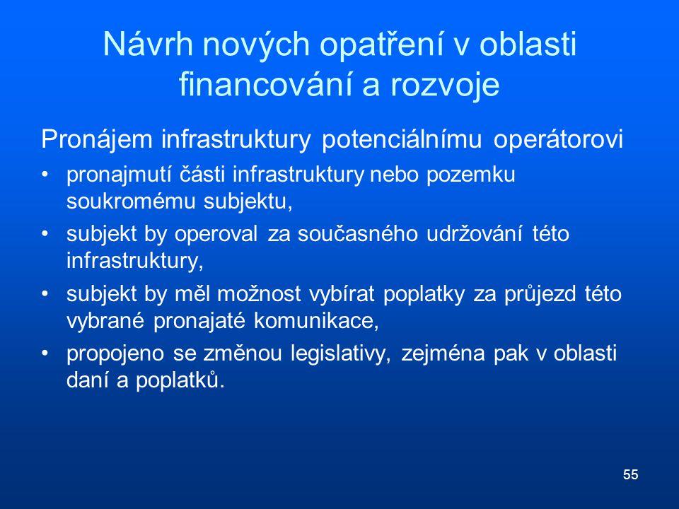 55 Návrh nových opatření v oblasti financování a rozvoje Pronájem infrastruktury potenciálnímu operátorovi pronajmutí části infrastruktury nebo pozemk