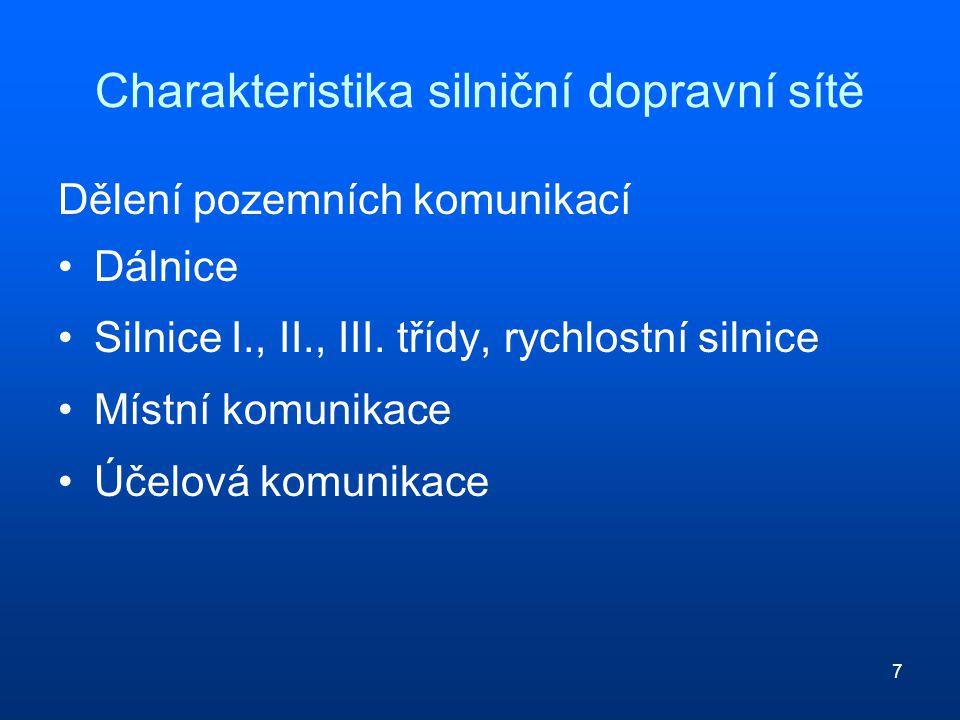 7 Charakteristika silniční dopravní sítě Dělení pozemních komunikací Dálnice Silnice I., II., III.