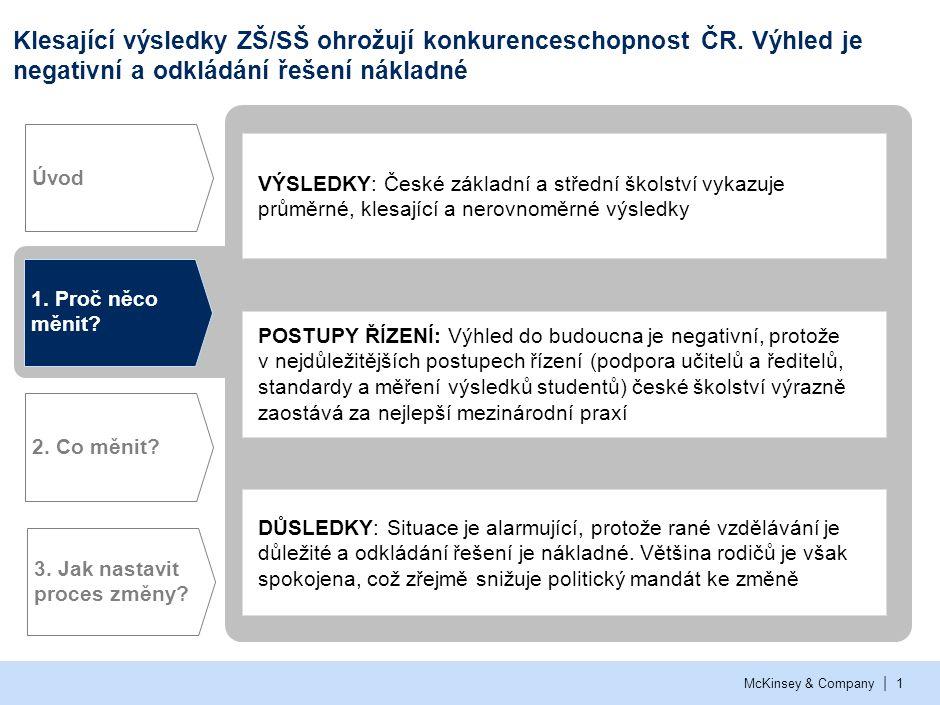 | McKinsey & Company1 Klesající výsledky ZŠ/SŠ ohrožují konkurenceschopnost ČR. Výhled je negativní a odkládání řešení nákladné 1. Proč něco měnit? 2.