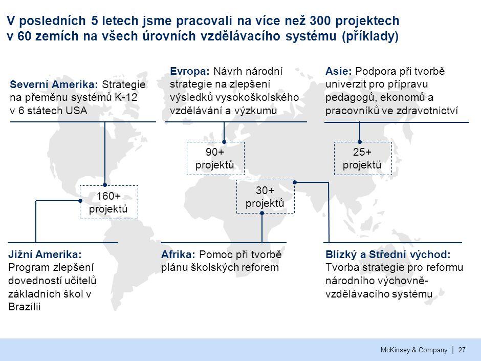 | McKinsey & Company27 V posledních 5 letech jsme pracovali na více než 300 projektech v 60 zemích na všech úrovních vzdělávacího systému (příklady) E