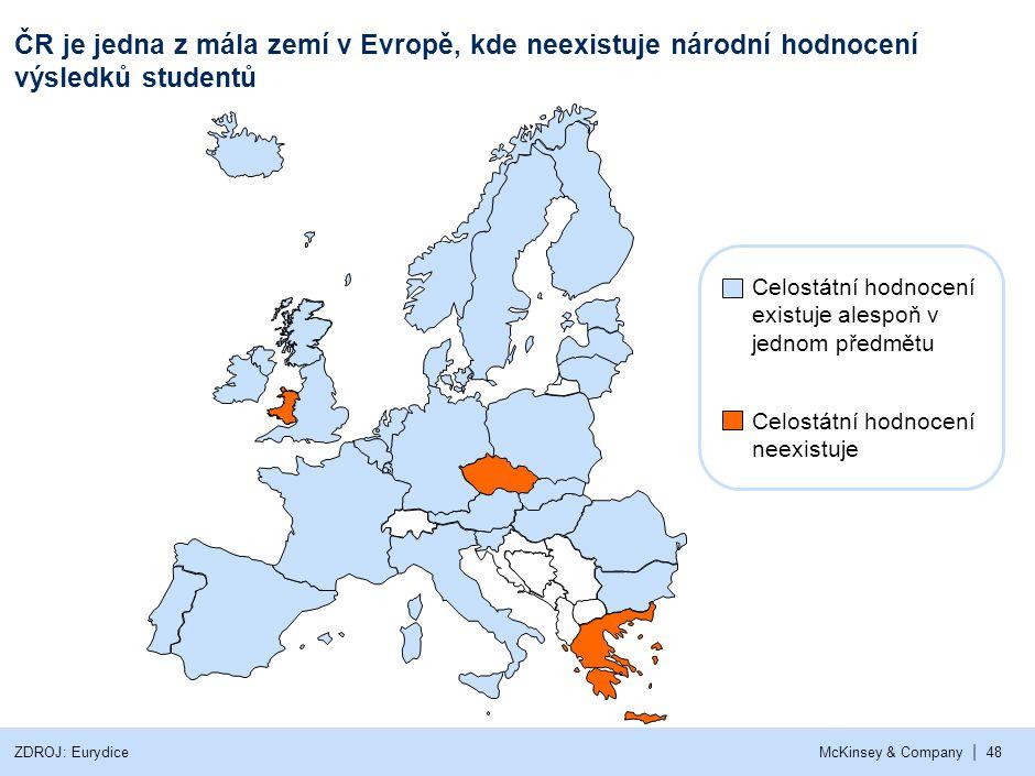 | McKinsey & Company48 ČR je jedna z mála zemí v Evropě, kde neexistuje národní hodnocení výsledků studentů Celostátní hodnocení existuje alespoň v je