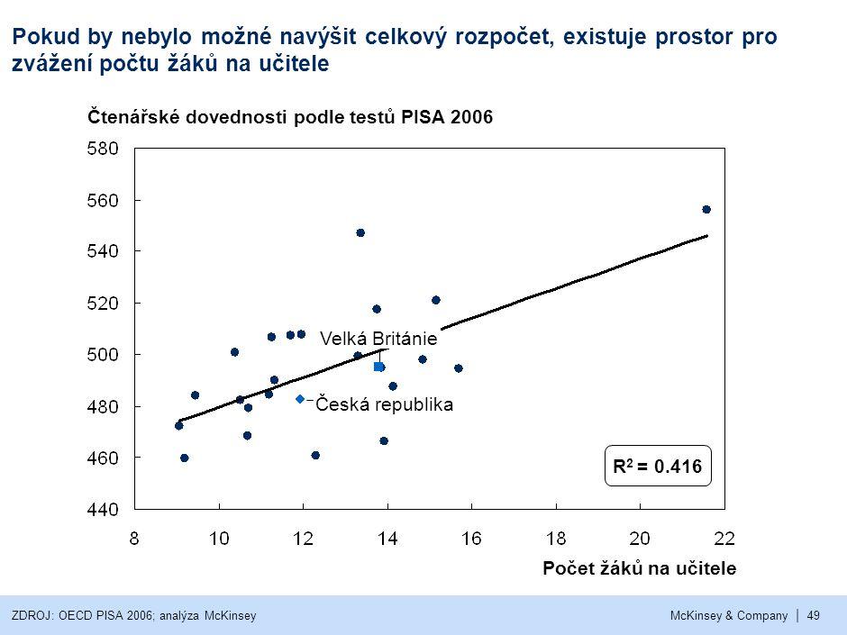 | McKinsey & Company49 Čtenářské dovednosti podle testů PISA 2006 Počet žáků na učitele Velká Británie Česká republika Pokud by nebylo možné navýšit c