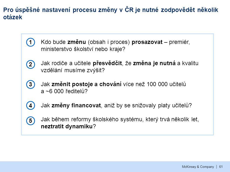 | McKinsey & Company61 Pro úspěšné nastavení procesu změny v ČR je nutné zodpovědět několik otázek ▪ Kdo bude změnu (obsah i proces) prosazovat – prem
