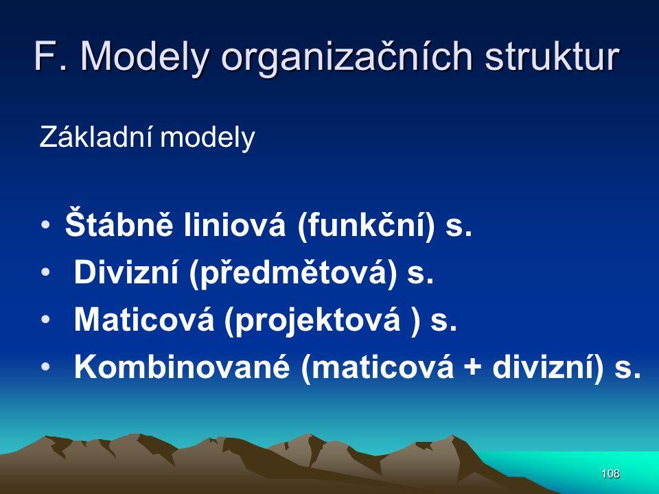 F. Modely organizačních struktur Základní modely Štábně liniová (funkční) s. Divizní (předmětová) s. Maticová (projektová ) s. Kombinované (maticová +