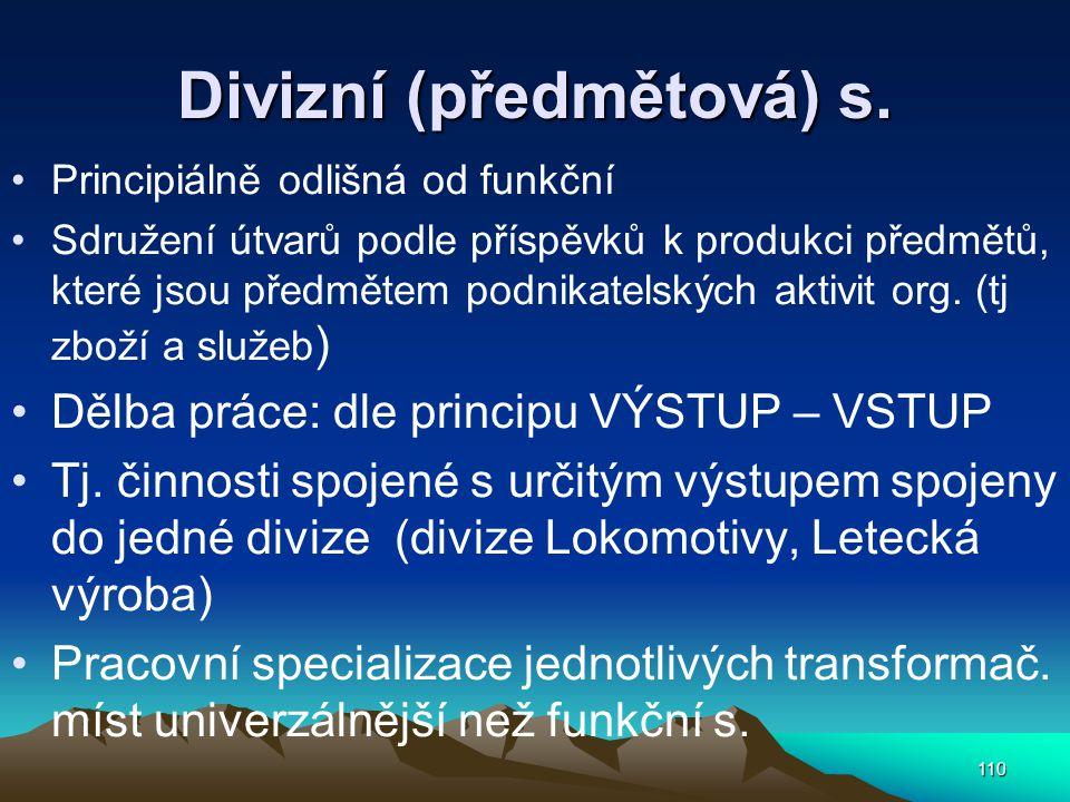 Divizní (předmětová) s. Principiálně odlišná od funkční Sdružení útvarů podle příspěvků k produkci předmětů, které jsou předmětem podnikatelských akti