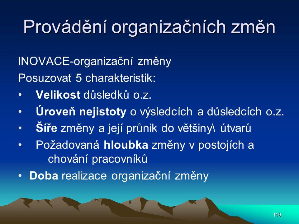 Provádění organizačních změn INOVACE-organizační změny Posuzovat 5 charakteristik: Velikost důsledků o.z. Úroveň nejistoty o výsledcích a důsledcích o