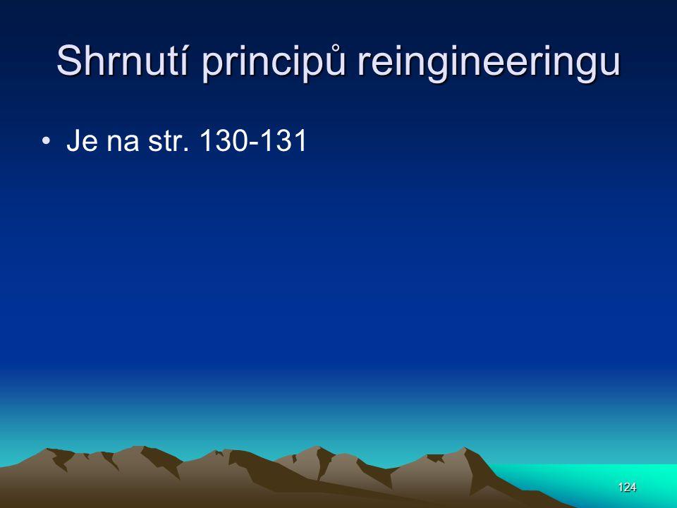Shrnutí principů reingineeringu Je na str. 130-131 124