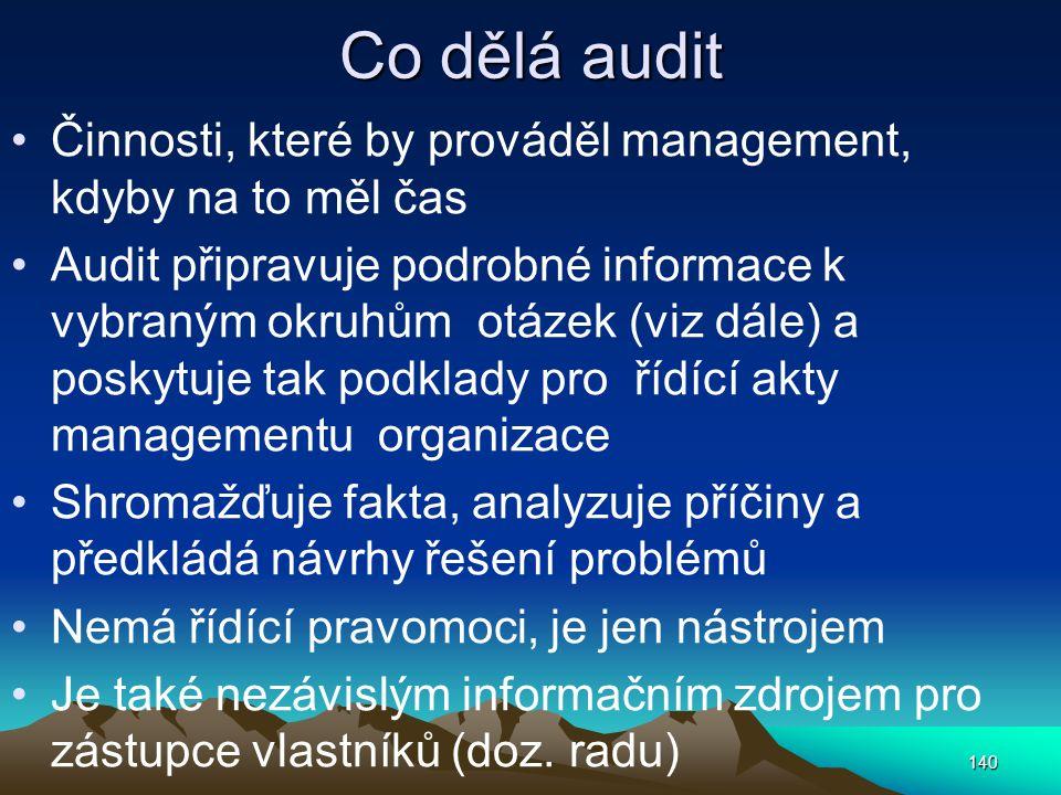 Co dělá audit Činnosti, které by prováděl management, kdyby na to měl čas Audit připravuje podrobné informace k vybraným okruhům otázek (viz dále) a p