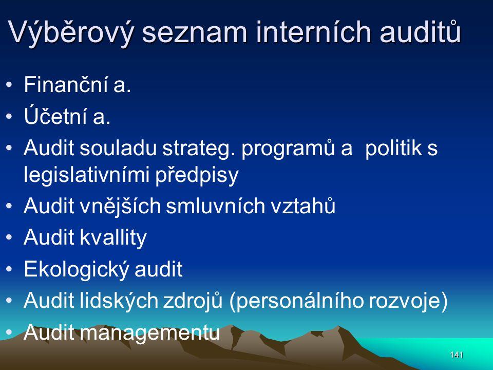 Výběrový seznam interních auditů Finanční a. Účetní a. Audit souladu strateg. programů a politik s legislativními předpisy Audit vnějších smluvních vz