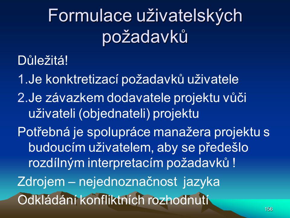 Formulace uživatelských požadavků Důležitá! 1.Je konktretizací požadavků uživatele 2.Je závazkem dodavatele projektu vůči uživateli (objednateli) proj