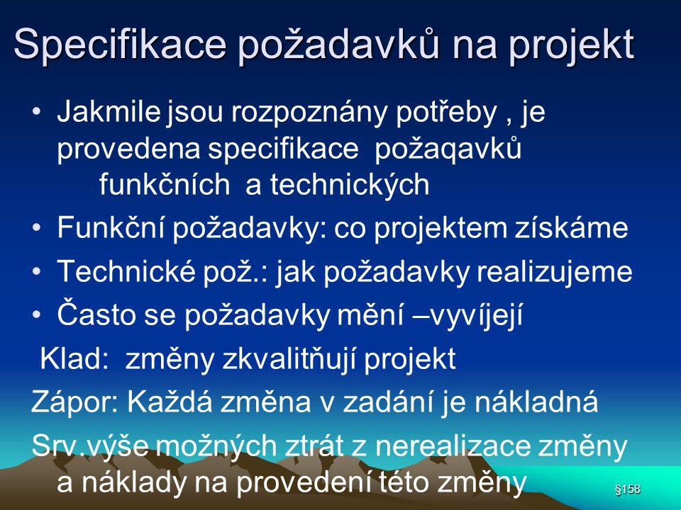 Specifikace požadavků na projekt Jakmile jsou rozpoznány potřeby, je provedena specifikace požaqavků funkčních a technických Funkční požadavky: co pro