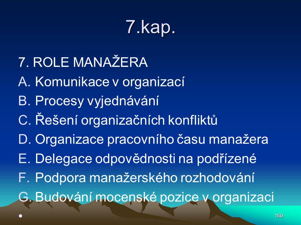 7.kap. 7. ROLE MANAŽERA A.Komunikace v organizací B.Procesy vyjednávání C.Řešení organizačních konfliktů D.Organizace pracovního času manažera E.Deleg