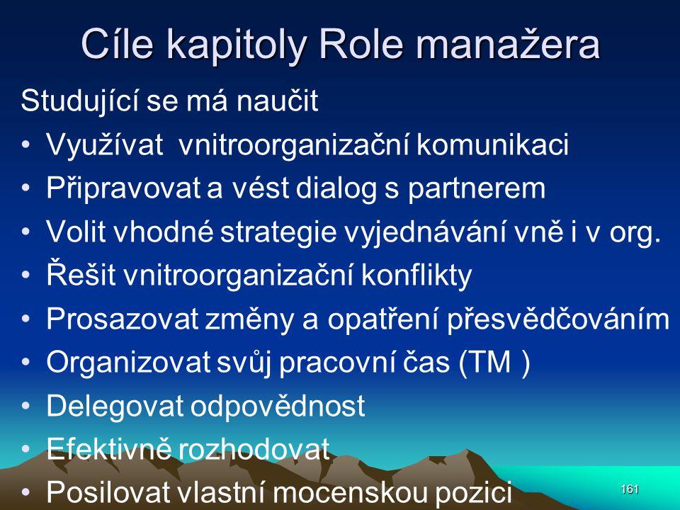 Cíle kapitoly Role manažera Studující se má naučit Využívat vnitroorganizační komunikaci Připravovat a vést dialog s partnerem Volit vhodné strategie