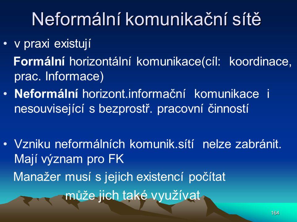 Neformální komunikační sítě v praxi existují Formální horizontální komunikace(cíl: koordinace, prac. Informace) Neformální horizont.informační komunik