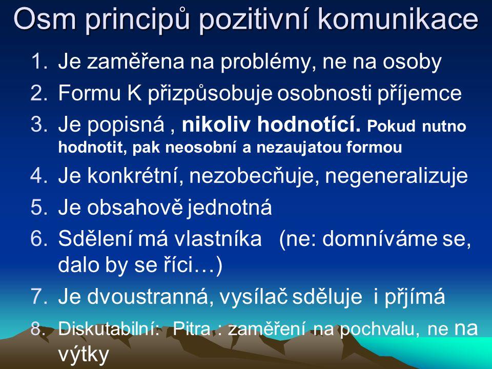 Osm principů pozitivní komunikace 1.Je zaměřena na problémy, ne na osoby 2.Formu K přizpůsobuje osobnosti příjemce 3.Je popisná, nikoliv hodnotící. Po