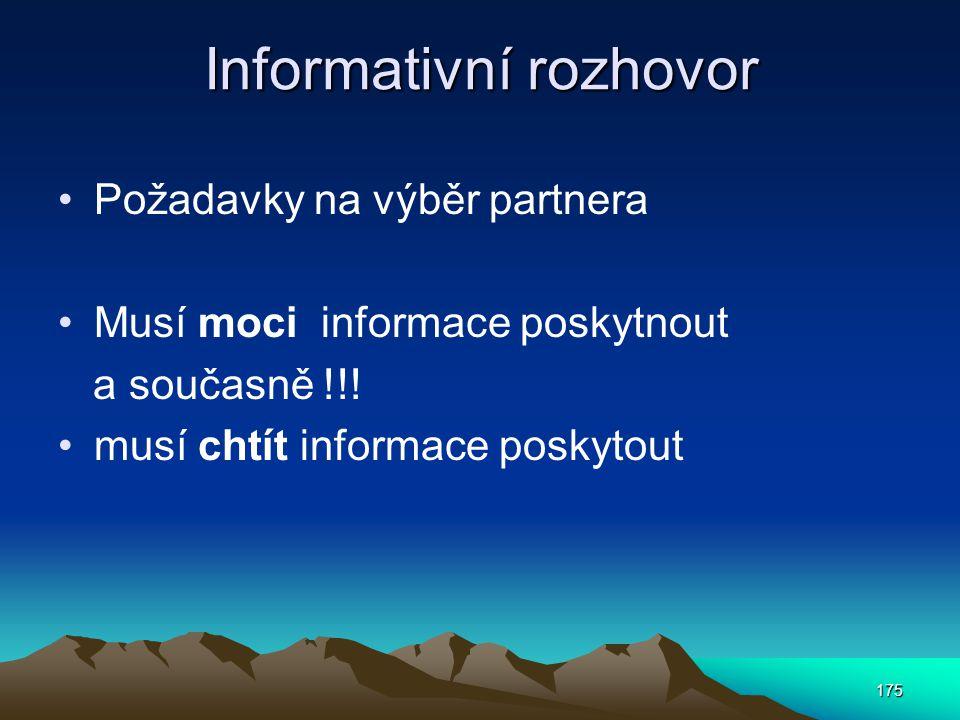 Informativní rozhovor Požadavky na výběr partnera Musí moci informace poskytnout a současně !!! musí chtít informace poskytout 175