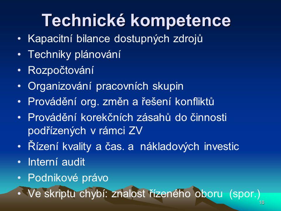 Technické kompetence Kapacitní bilance dostupných zdrojů Techniky plánování Rozpočtování Organizování pracovních skupin Provádění org. změn a řešení k