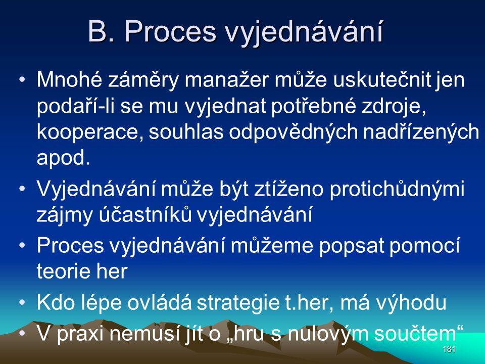 B. Proces vyjednávání Mnohé záměry manažer může uskutečnit jen podaří-li se mu vyjednat potřebné zdroje, kooperace, souhlas odpovědných nadřízených ap