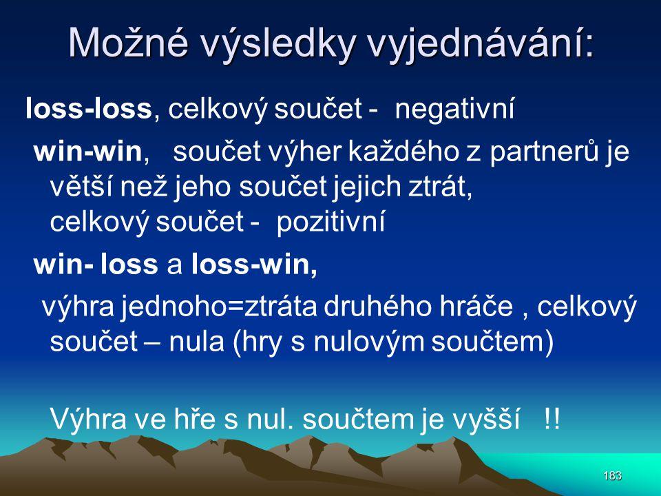 Možné výsledky vyjednávání: loss-loss, celkový součet - negativní win-win, součet výher každého z partnerů je větší než jeho součet jejich ztrát, celk
