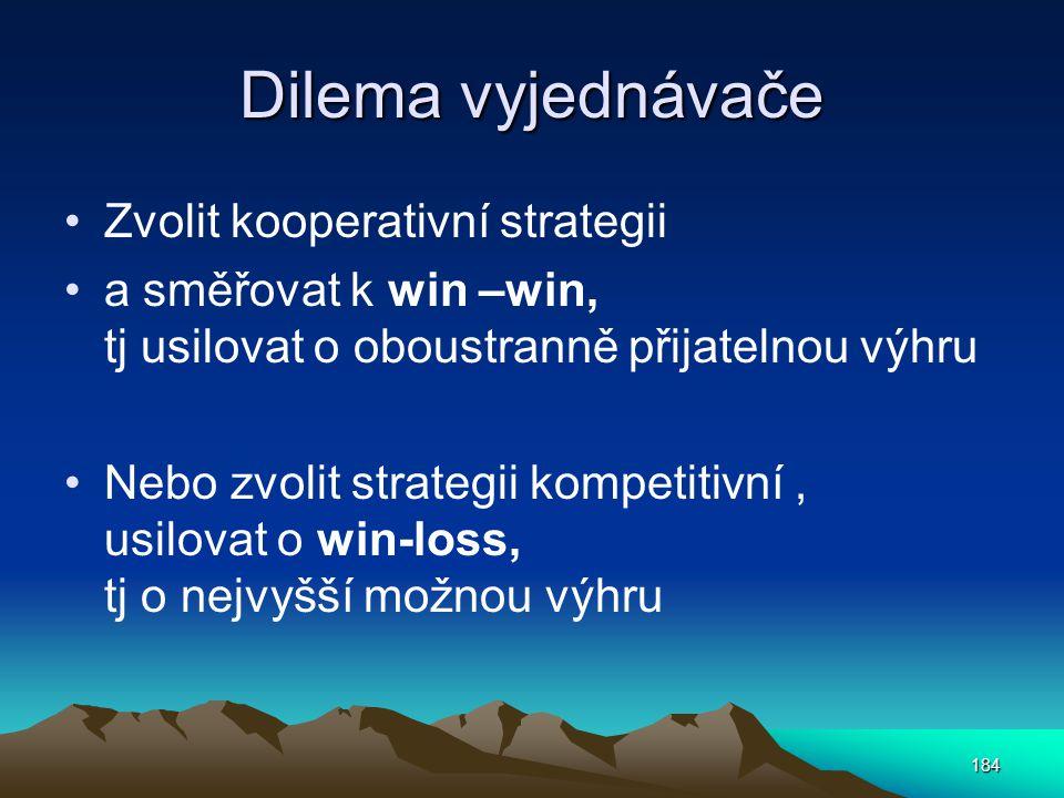 Dilema vyjednávače Zvolit kooperativní strategii a směřovat k win –win, tj usilovat o oboustranně přijatelnou výhru Nebo zvolit strategii kompetitivní