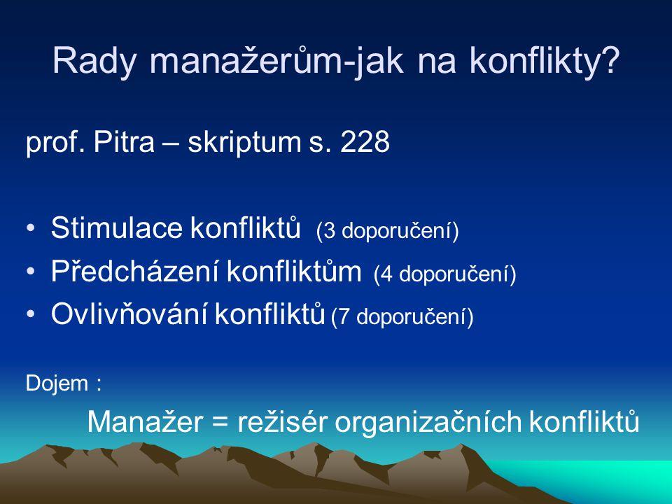 Rady manažerům-jak na konflikty? prof. Pitra – skriptum s. 228 Stimulace konfliktů (3 doporučení) Předcházení konfliktům (4 doporučení) Ovlivňování ko