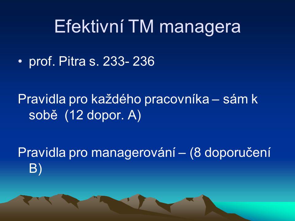 Efektivní TM managera prof. Pitra s. 233- 236 Pravidla pro každého pracovníka – sám k sobě (12 dopor. A) Pravidla pro managerování – (8 doporučení B)