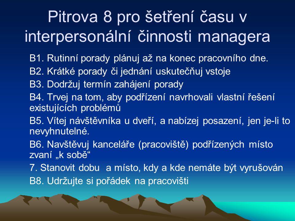 Pitrova 8 pro šetření času v interpersonální činnosti managera B1. Rutinní porady plánuj až na konec pracovního dne. B2. Krátké porady či jednání usku