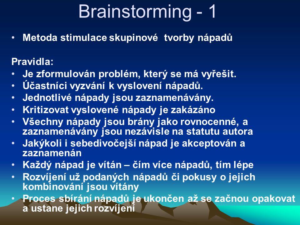 Brainstorming - 1 Metoda stimulace skupinové tvorby nápadů Pravidla: Je zformulován problém, který se má vyřešit. Účastníci vyzvání k vyslovení nápadů