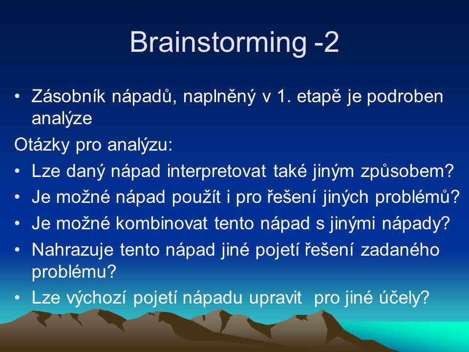 Brainstorming -2 Zásobník nápadů, naplněný v 1. etapě je podroben analýze Otázky pro analýzu: Lze daný nápad interpretovat také jiným způsobem? Je mož
