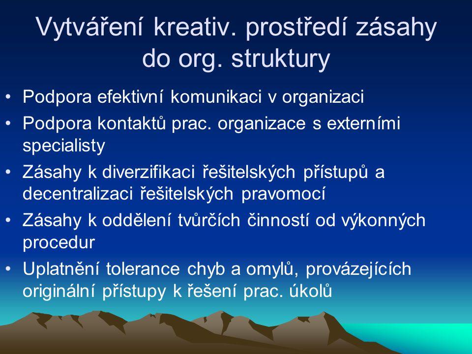 Vytváření kreativ. prostředí zásahy do org. struktury Podpora efektivní komunikaci v organizaci Podpora kontaktů prac. organizace s externími speciali