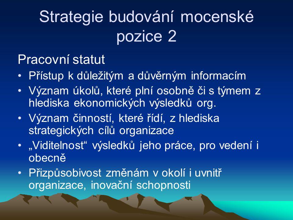 Strategie budování mocenské pozice 2 Pracovní statut Přístup k důležitým a důvěrným informacím Význam úkolů, které plní osobně či s týmem z hlediska e