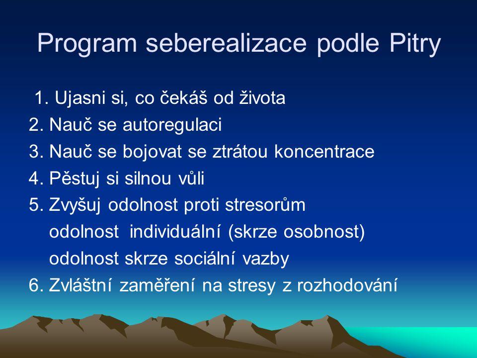 Program seberealizace podle Pitry 1. Ujasni si, co čekáš od života 2. Nauč se autoregulaci 3. Nauč se bojovat se ztrátou koncentrace 4. Pěstuj si siln