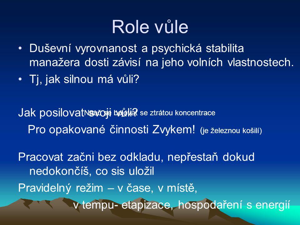 Role vůle Duševní vyrovnanost a psychická stabilita manažera dosti závisí na jeho volních vlastnostech. Tj, jak silnou má vůli? Jak posilovat svoji vů