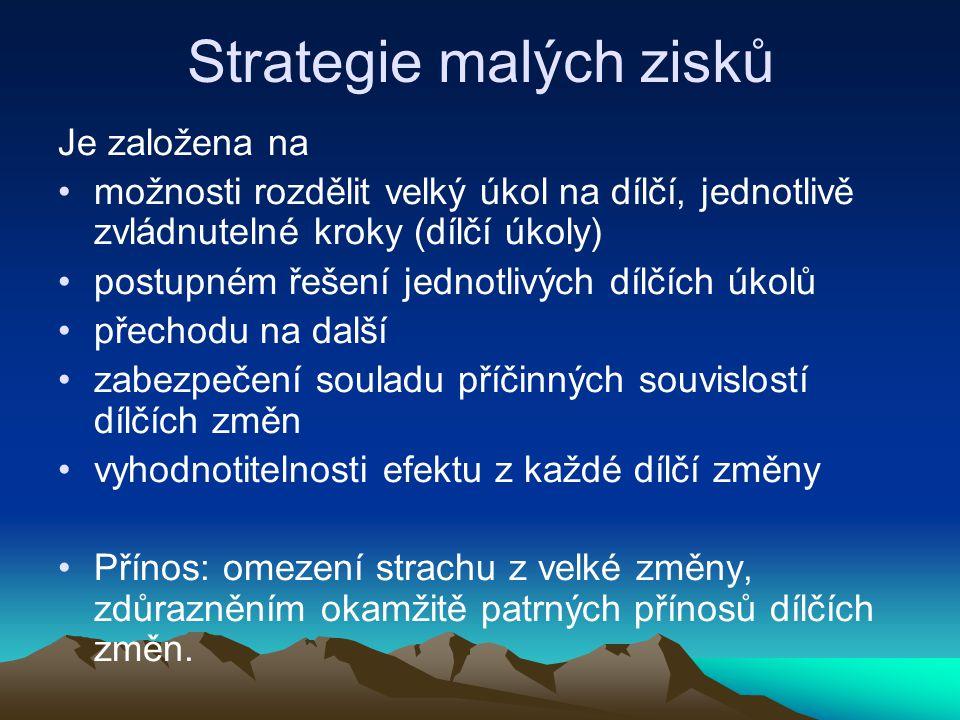 Strategie malých zisků Je založena na možnosti rozdělit velký úkol na dílčí, jednotlivě zvládnutelné kroky (dílčí úkoly) postupném řešení jednotlivých