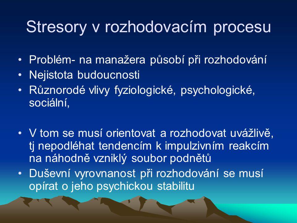 Stresory v rozhodovacím procesu Problém- na manažera působí při rozhodování Nejistota budoucnosti Různorodé vlivy fyziologické, psychologické, sociáln