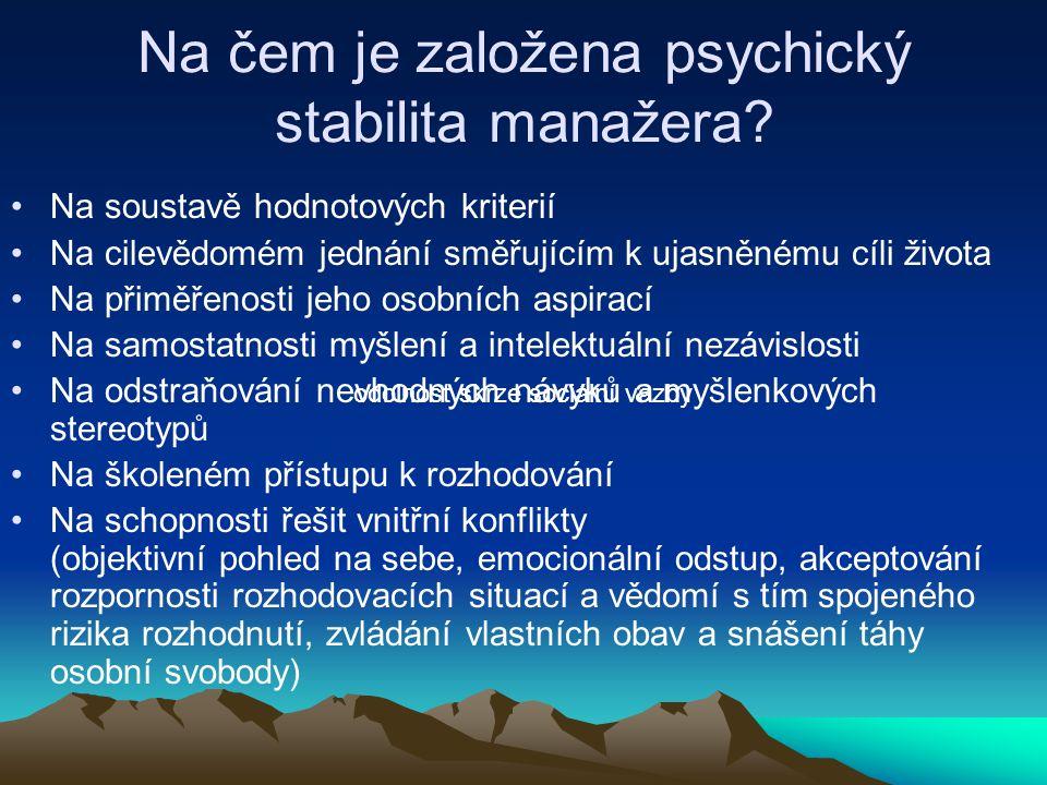 Na čem je založena psychický stabilita manažera? Na soustavě hodnotových kriterií Na cilevědomém jednání směřujícím k ujasněnému cíli života Na přiměř