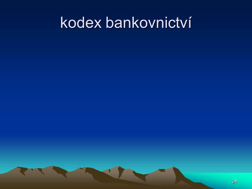 kodex bankovnictví 24