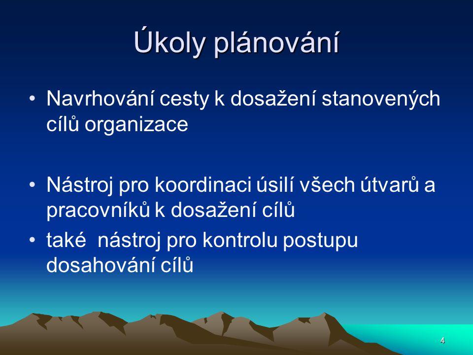Úkoly plánování Navrhování cesty k dosažení stanovených cílů organizace Nástroj pro koordinaci úsilí všech útvarů a pracovníků k dosažení cílů také ná