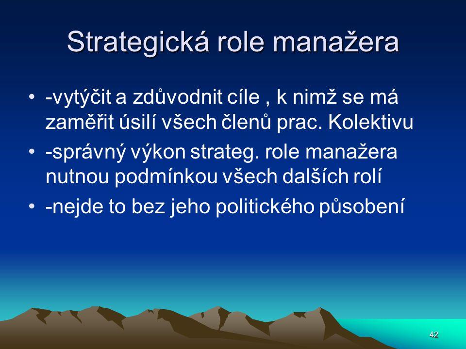 Strategická role manažera -vytýčit a zdůvodnit cíle, k nimž se má zaměřit úsilí všech členů prac. Kolektivu -správný výkon strateg. role manažera nutn
