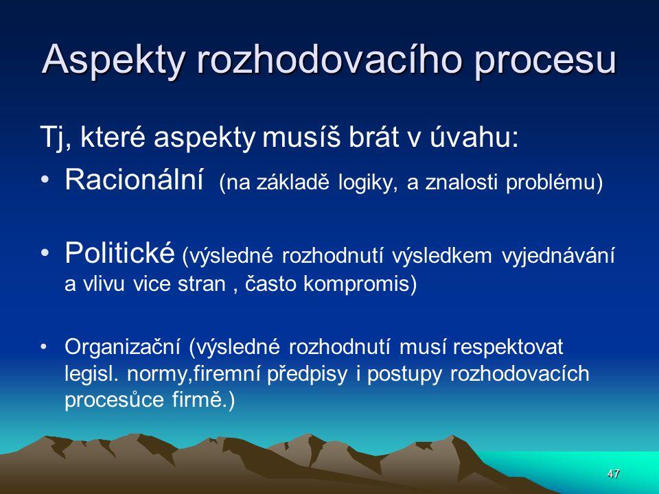 Aspekty rozhodovacího procesu Tj, které aspekty musíš brát v úvahu: Racionální (na základě logiky, a znalosti problému) Politické (výsledné rozhodnutí