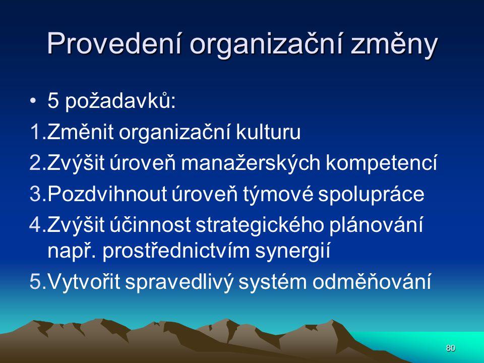 Provedení organizační změny 5 požadavků: 1.Změnit organizační kulturu 2.Zvýšit úroveň manažerských kompetencí 3.Pozdvihnout úroveň týmové spolupráce 4