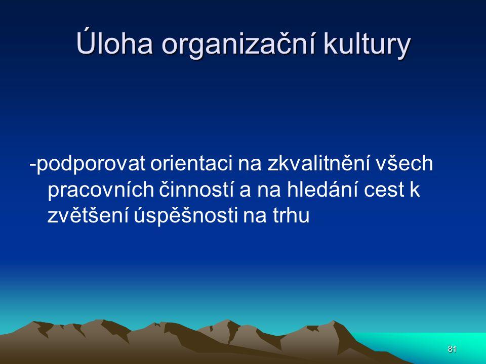 Úloha organizační kultury -podporovat orientaci na zkvalitnění všech pracovních činností a na hledání cest k zvětšení úspěšnosti na trhu 81