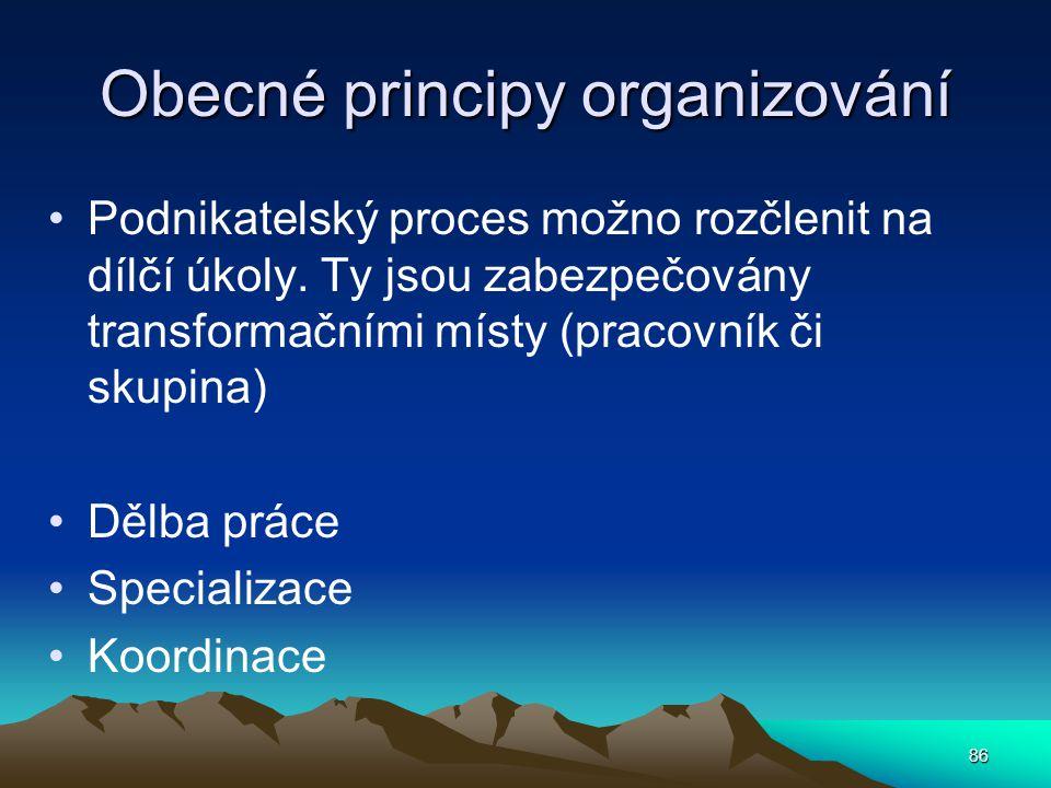 Obecné principy organizování Podnikatelský proces možno rozčlenit na dílčí úkoly. Ty jsou zabezpečovány transformačními místy (pracovník či skupina) D