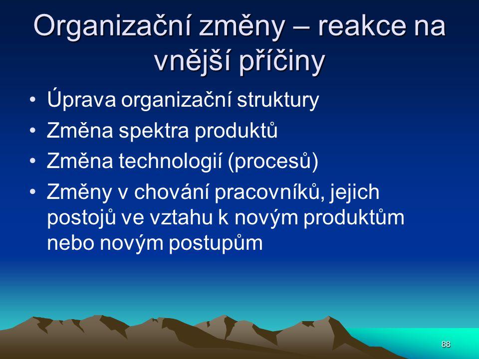 Organizační změny – reakce na vnější příčiny Úprava organizační struktury Změna spektra produktů Změna technologií (procesů) Změny v chování pracovník