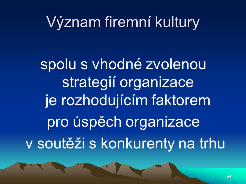 Význam firemní kultury spolu s vhodné zvolenou strategií organizace je rozhodujícím faktorem pro úspěch organizace v soutěži s konkurenty na trhu 94