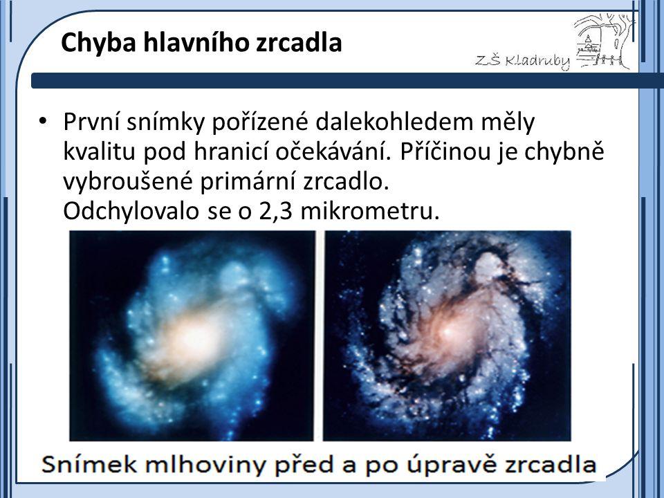 Základní škola Kladruby 2011  Chyba hlavního zrcadla První snímky pořízené dalekohledem měly kvalitu pod hranicí očekávání.