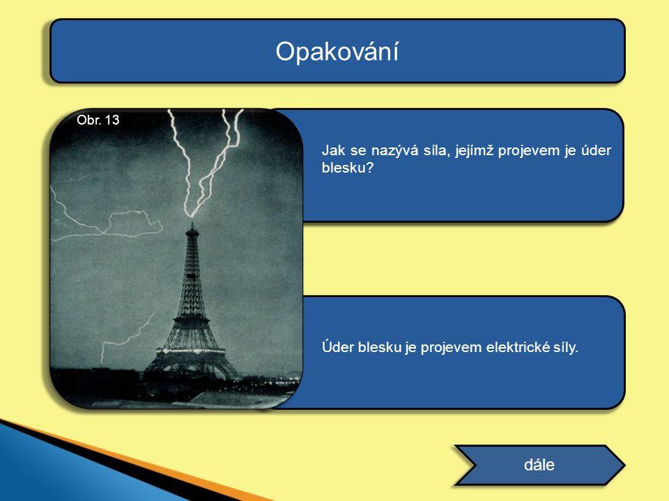 ODPOVĚĎ Úder blesku je projevem elektrické síly. Opakování dále