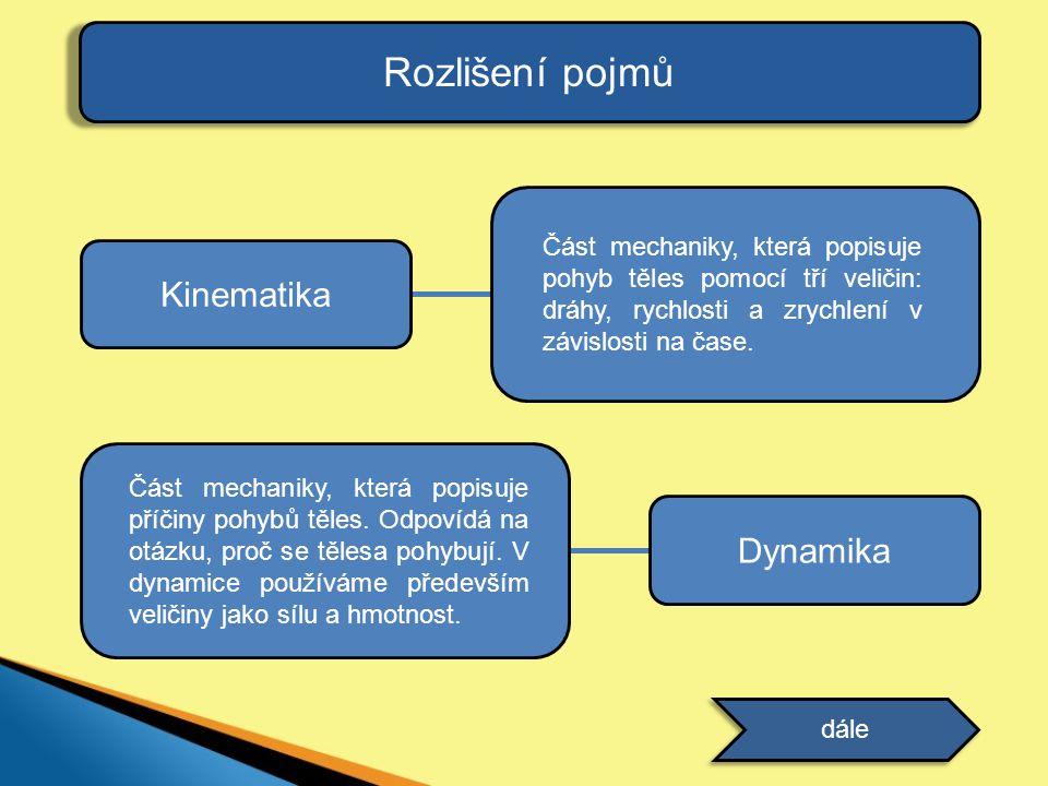 Rozlišení pojmů Kinematika Část mechaniky, která popisuje pohyb těles pomocí tří veličin: dráhy, rychlosti a zrychlení v závislosti na čase. Dynamika