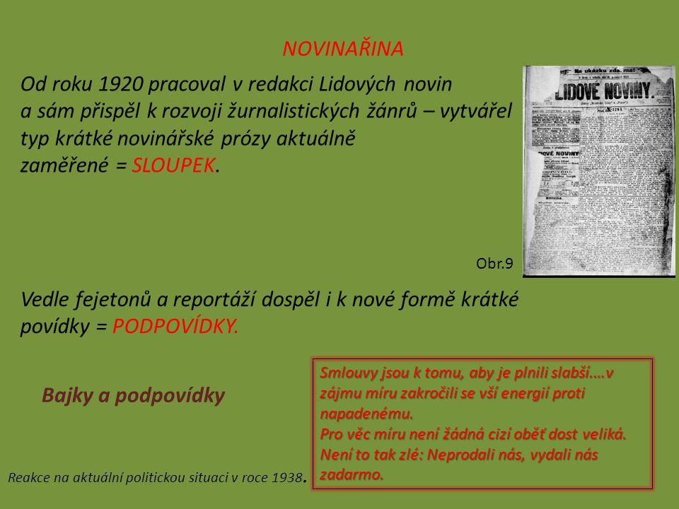 NOVINAŘINA Od roku 1920 pracoval v redakci Lidových novin a sám přispěl k rozvoji žurnalistických žánrů – vytvářel typ krátké novinářské prózy aktuálně zaměřené = SLOUPEK.